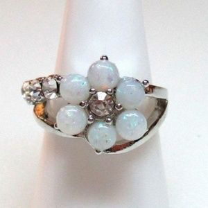 Ring Size 7 Simulated Diamond Opal Flower 382